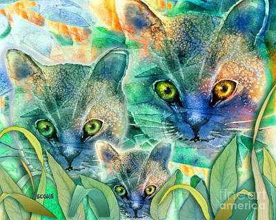 Art Print featuring the painting Feline Family by Teresa Ascone