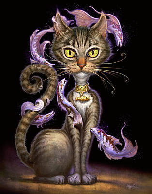 Black Painting - Feline Fantasy by Jeff Haynie