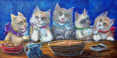 Painting - Felines After Five by Gail Butler