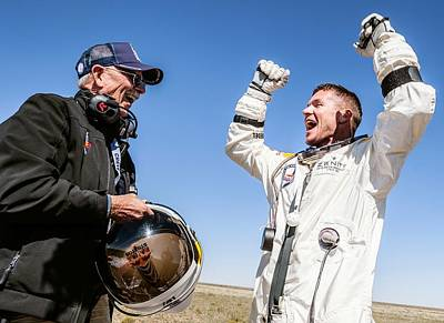 Felix Baumgartner After Freefall Art Print by Science Photo Library
