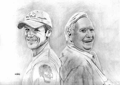 Drawing - Felix Baumgartner And Joe Kittinger by Pat Moore