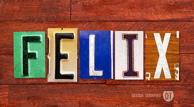 Mixed Media - Felix License Plate Name Sign Fun Kid Room Decor by Design Turnpike