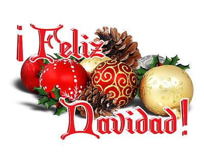 Pine Cones Digital Art - Feliz Navidad - Ornaments by Gravityx9  Designs