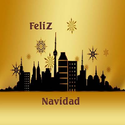 Digital Art - Feliz Navidad Gold by Florene Welebny