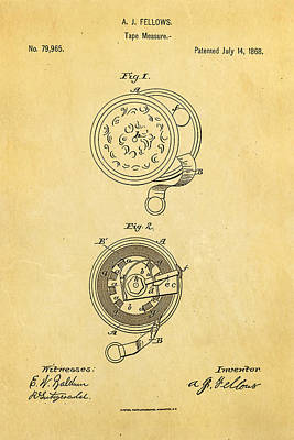 1868 Photograph - Fellows Tape Measure Patent Art 1868 by Ian Monk