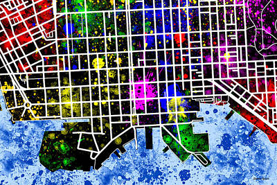 Fells Point Baltimore Maryland Digital Art - Fells Point Map by Stephen Younts