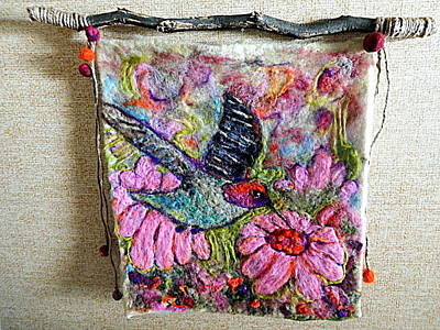Needle Felting Painting - Felted Hummingbird by Selma Glunn