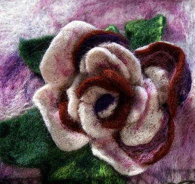 Mixed Media - Felted Rose by Shelley Bain