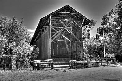 Photograph - Felton Covered Bridge In Monochrome by SC Heffner
