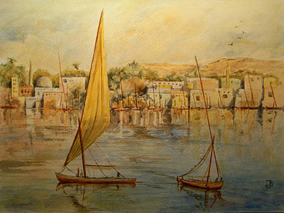 Orientalist Painting - Feluccas At Aswan Egypt. by Juan  Bosco