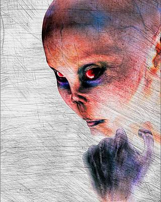 Surrealism Digital Art - Female Alien Portrait by Bob Orsillo