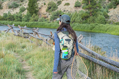 Colorado Fly Fishing River Wall Art - Photograph - Female Angler Walking Along River by Jennifer Magnuson