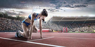 Female Athlete Prepares To Run Art Print by Dmytro Aksonov