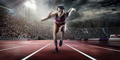Female Athlete Sprinting Art Print by Dmytro Aksonov