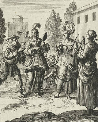 Deadly Drawing - Female Beholds A Richly Dressed Lady Who Is Chained by Jan Luyken And Pieter Arentsz Ii