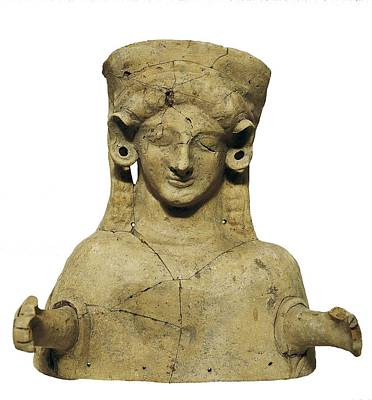Ceramics Photograph - Female Bust. 6th C. - 5th C. Bc by Everett