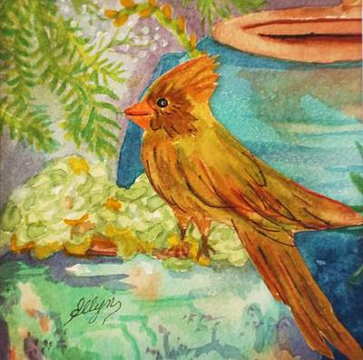 Painting - Female Cardinal And Succulents by Ellen Levinson