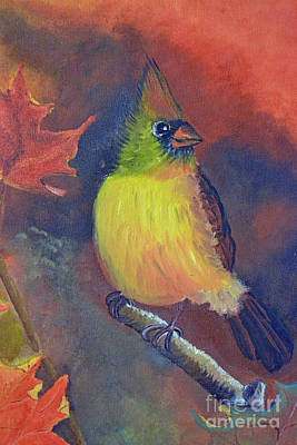 Painting - Female Cardinal by Cecilia Stevens