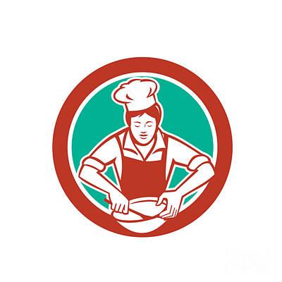 Mixing Bowls Digital Art - Female Chef Mixing Bowl Circle Retro by Aloysius Patrimonio