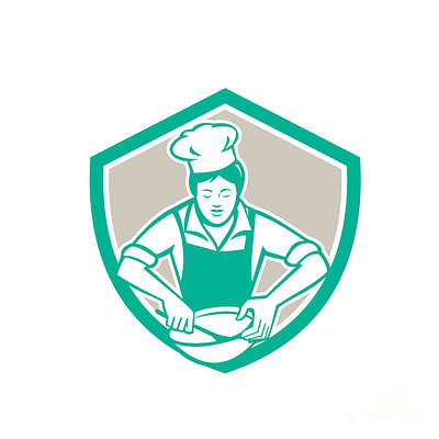 Mixing Bowls Digital Art - Female Chef Mixing Bowl Shield Retro by Aloysius Patrimonio