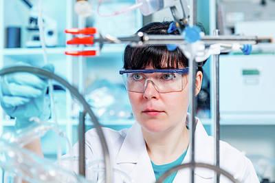 Female Chemist In Lab Art Print