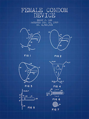 Hiv Digital Art - Female Condom Device Patent From 1989 - Blueprint by Aged Pixel