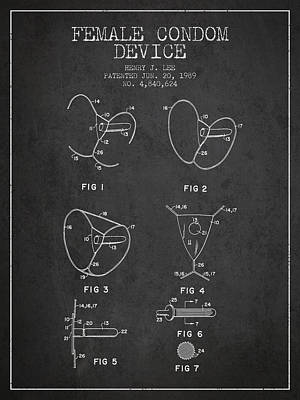 Hiv Digital Art - Female Condom Device Patent From 1989 - Charcoal by Aged Pixel