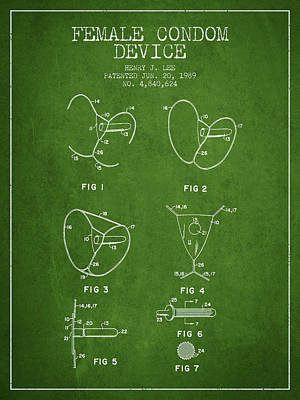 Hiv Digital Art - Female Condom Device Patent From 1989 - Green by Aged Pixel