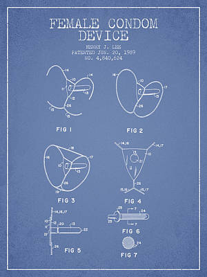 Hiv Digital Art - Female Condom Device Patent From 1989 - Light Blue by Aged Pixel