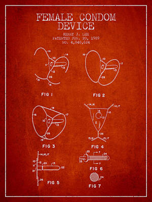 Hiv Digital Art - Female Condom Device Patent From 1989 - Red by Aged Pixel