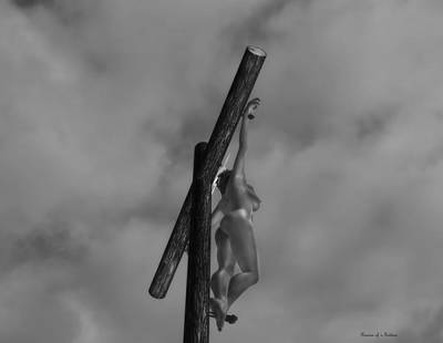 Crucifixion Wall Art - Digital Art - Female Crucifix Baw I by Ramon Martinez