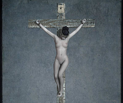 Crucifixion Wall Art - Digital Art - Female Crucifix V by Ramon Martinez