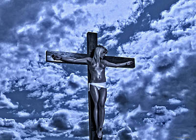 Crucifixion Wall Art - Photograph - Female Crucifixion In Blue by Ramon Martinez