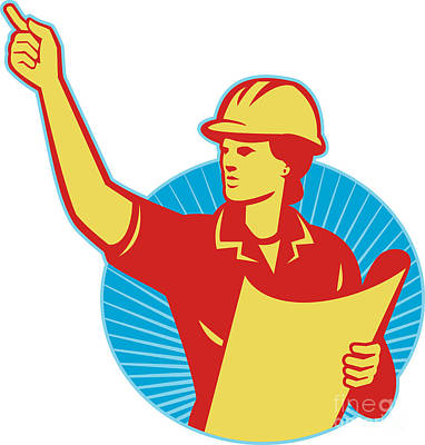 Female Engineer Construction Worker Pointing Retro Art Print by Aloysius Patrimonio