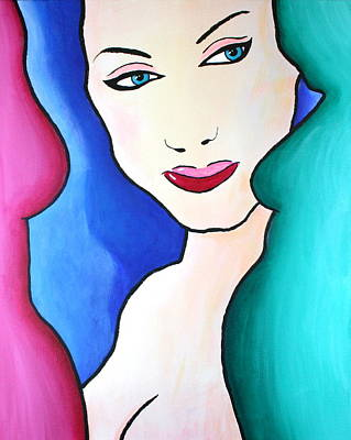 Painting - Female Face Shapes And Forms by Bob Baker