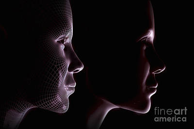 Photograph - Female Face With Wireframe by Science Picture Co