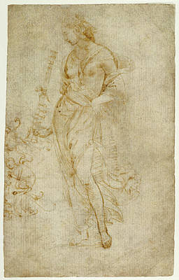 Raffaello Drawing - Female Figure With A Tibia, And Ornamental Studies Recto by Litz Collection