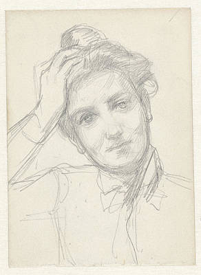 Work On Paper Drawing - Female Head, Hand On Head, August Allebé by Quint Lox