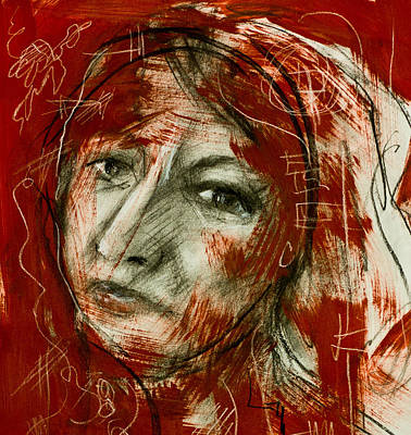 Female Head With Red Background Art Print