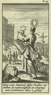 Female Holding A Burning Heart, Beholds The Crucified Christ Art Print by Jan Luyken And Gijsbert De Groot