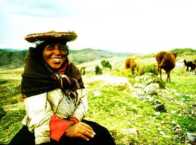 Photograph - Female Llama Herder by Robert  Rodvik