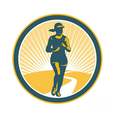 Female Marathon Runner Circle Retro Art Print