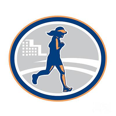 Jogging Digital Art - Female Marathon Runner City Retro by Aloysius Patrimonio