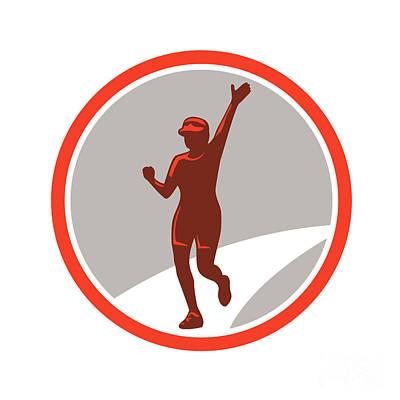 Jogging Digital Art - Female Marathon Runner Running Circle Retro by Aloysius Patrimonio