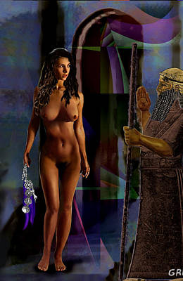 Art Print featuring the painting Female Nude Digital Fine Art Jean Inanna 7th Gate by G Linsenmayer
