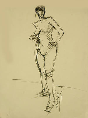 Hip Drawing - Female Nude Full Figure W Head Turned by Frederick Hubicki