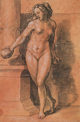 Bible Drawing - Female Nude Stone Thrower by