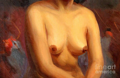 Painting - Female Nude Torso 1940s by Art By Tolpo Collection