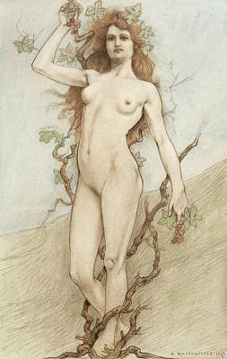 Leaf Drawing - Female Nude With Grapes by Armand Rassenfosse