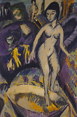 Abstract Purple Painting - Female Nude With Hot Tub by Ernst Ludwig Kirchner
